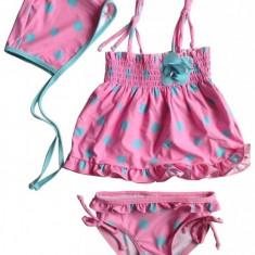 Costum de baie fetite roz cu buline- 3 piese, 3-4 ani