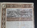 ACTIUNI - UZINELE DE FIER SI DOMENIILE DIN RESITA - 500 LEI - 1924 - CUPOANE