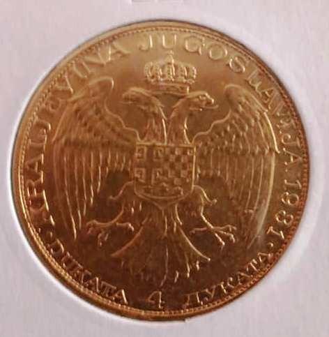 Moneda AUR YUGOSLAVIA-4 DUKATS-13.96 g,.986-24K foto mare