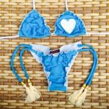 Costum de baie slip brazilian cu snururi, Bleu, L
