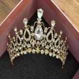 Diadema / coronita / tiara mireasa aurie cu cristale tip Swarovski