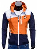 Jacheta pentru barbati, din fâș, slim fit, cu fermoar si gluga C201-portocaliu, L