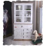 Bufet pentru bucatarie din lemn alb cu maro  HMB074, Comode si bufete