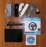 Consola Nintendo Wii neagra completa + volan + joc + husa silicon controller