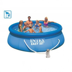 Set piscina gonflabila Lumi , cu pompa filtrare si forma compacta, 396 x 84 cm