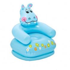 Scaun gonflabil LUMI, hipopotam, pentru copii , 75 x 65 x 64 cm, 2-6 ani