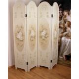 Paravan din lemn masiv alb cu flori FRF01, Comode si bufete