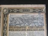 ACTIUNI - UZINELE DE FIER SI DOMENIILE DIN RESITA - 5000 LEI - 1939 - CUPOANE