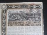 ACTIUNI - UZINELE DE FIER SI DOMENIILE DIN RESITA - 2500 LEI - 1924 - CUPOANE