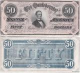 1864 (17 II), 50 dollars (P-70) - Statele Confederate ale Americii - stare aUNC!