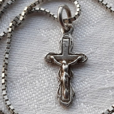 MEDALION argint CRUCE CRUCIFIX vechi RUSIA de colectie RAR finut pe Lant argint