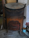 Ceaun mare de Fonta cu Arzator facut din Cilindru gros de Fier
