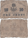 1863 (II), 10 cents - Carolina de Sud (Statele Unite ale Americii)!