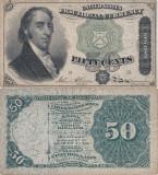 1863 (3 III), 50 cents (P-121) - Statele Unite ale Americii - stare XF+!