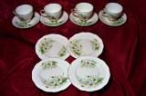 Set ceai portelan Anglia, narcise, aur 24K, colectie, cadou, vintage