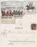 Circul Barnum and Bailey-litografie,  rara, Circulata, Printata