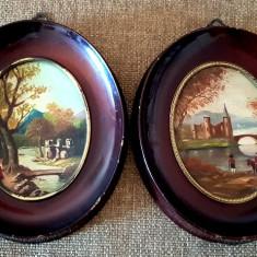 Tablouri pereche pictate peisaj ulei tablou rama ovala  antichitati cadou, Peisaje, Art Nouveau