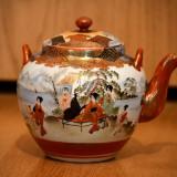Ceainic Japonez Pictat, Traditional, Antichitate (Ceramica) - Stare Foarte Buna!