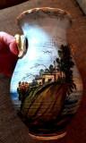 1930 Vaza ceramica pictata peisaj  majolica antichitati colectie decor, Vaze