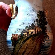 1930 Vaza ceramica pictata peisaj  majolica antichitati colectie decor