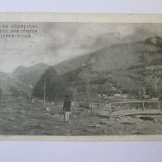 Rara!C.P.Valea Argesului,vedere spre cetate Tepes-Voda/Poenari,circulata anii 20, Printata