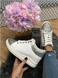 Adidasi dama albi cu argintiu cu platforma marime  38, 39 +CADOU