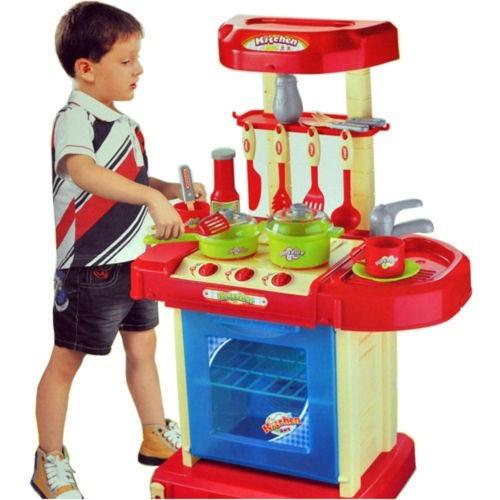 Mini bucatarie de jucarie pentru baieti cu sunete si lumini, gentuta cu accesorii BK022