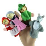 4 mascote degete scufita rosie jucarii degete 4 papusi degete teatru de papusi