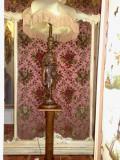 lampadar/lampa de podea cu statuie /statueta,lemn masiv sculptat.vintage