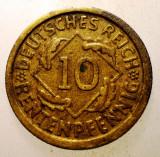 2.171 GERMANIA WEIMAR 10 RENTENPFENNIG 1924 F, Europa, Bronz-Aluminiu