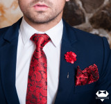 Set Cravata Batista Pin Rosu Paisley Gent's Club, Geometric