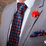 Set Cravata Batista Pin Portocaliu Bluemarin Paisley Gent's Club, Orange, Geometric