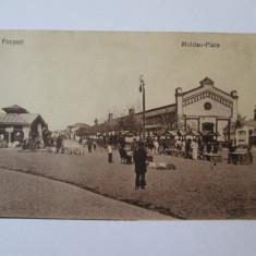 Carte postala Focsani-Hala si piata Moldova cca 1916-1917, Necirculata, Fotografie