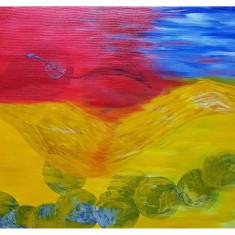 "Tablou ""Half and lost"" pictura in acril 50/70cm, Abstract, Acrilic"