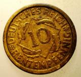 2.168 GERMANIA WEIMAR 10 RENTENPFENNIG 1924 J, Europa, Bronz-Aluminiu