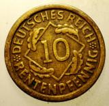 2.173 GERMANIA WEIMAR 10 RENTENPFENNIG 1924 F, Europa, Bronz-Aluminiu