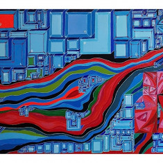 """Tablou """"The man behind the scene"""" pictura in acril 50/80cm, Abstract, Acrilic"""