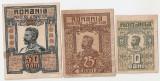 ROMANIA 10 BANI 1917, 25 BANI 1917, 50 BANI 1917 XF, AUNC