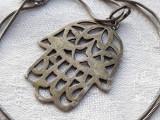 MEDALION argint MANA MAICII DOMNULUI vechi HAMSA splendid RAR pe Lant argint