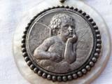 MEDALION argint INGERAS HERUVIM spectaculos FRANTA 1900 MASIV splendid OPULENT