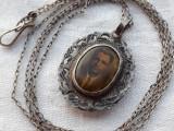 MEDALION argint cu LOC FOTOGRAFII vechi FRANTA 1900 gravat UNICAT pe Lant argint