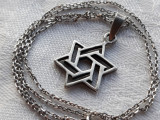 MEDALION argint STEAUA lui DAVID vechi SUPERB patina minunata pe Lant argint