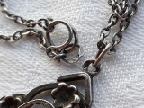 MEDALION argint cu GRANAT splendid 1900 FRANTA art nouveau RAR pe Lant argint