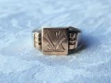 INEL argint VECHI masiv SPLENDID superb VECHI cu monograma Tip GHIUL de EFECT