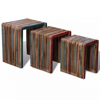 Set de 3 mese suprapuse din lemn de tec reciclat multicolor foto