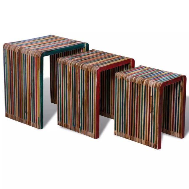 Set de 3 mese suprapuse din lemn de tec reciclat multicolor foto mare