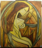 Tablou Nud la fereastra pictura in stil cubism ulei pe panza 60x70cm