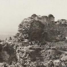 Vedere monocroma, 92 x 142 mm, necirculata, ruinele cetatii, Tirgu (Targu) Neamt, Fotografie, Targu Neamt