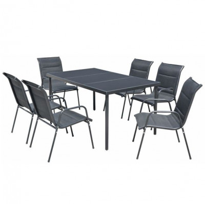 Set mobilier de exterior, 7 piese, negru foto