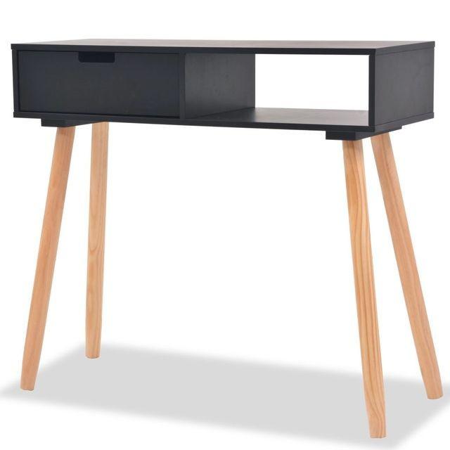 Masă consolă, lemn masiv de pin 80x30x72 cm, negru foto mare
